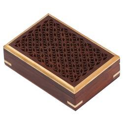 Benzara Mango Wood Jewelry/ Storage Box With Detailed Pattern, Brown
