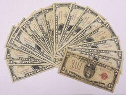 22 Red Seal $5 Notes, 3 x Stars