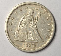 Upper End 1875-S 20C Piece, Circulated