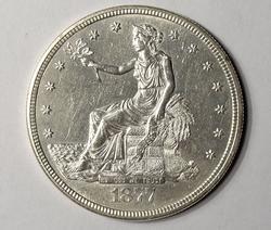 Brilliant 1877-S Trade Silver Dollar, AU/BU