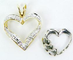 2 Pretty Sterling Heart Pendants