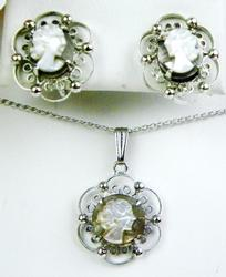 Vintage Sterling Filigree Cameo Necklace & Earrings