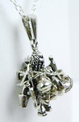 Unusual Vintage Sterling Pendant, Man with Belongings