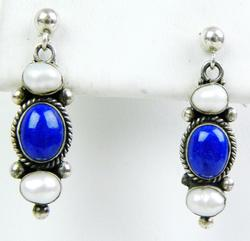 Sterling Lapis & Pearl Pierced Earrings