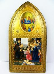 Large Italian Florentine Arched Nativity Icon