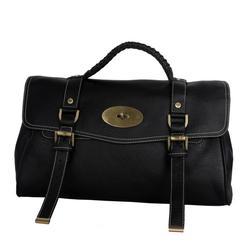 Black Buckled Leather Satchel