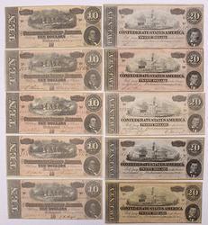 10 Crisp 1864 Confederate States Notes, 5 x $10 5 x $20