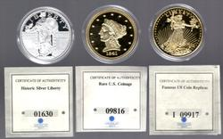 3 Diff American Mint Gold & Silver Plated Replica Coins