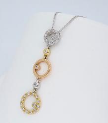 14K Tri Colored Gold Diamond Necklace
