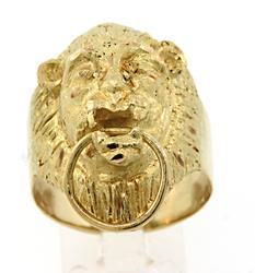 Fabulous Lions Head Door Knocker Ring in 18K