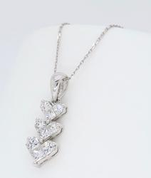 18K White Gold Diamond Heart Drop Necklace