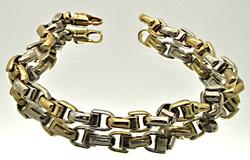 MEN'S 10 KT TWO TONE HEAVY LINK BRACELET.