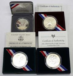 WWII 1992 Olympics Korean War& Mt Rushmore Unc Silver Dollarsr