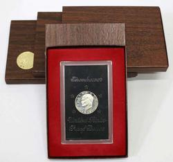 2 Each 1971 and 2 1973 Brown Box Proof Silver Ike Dollars