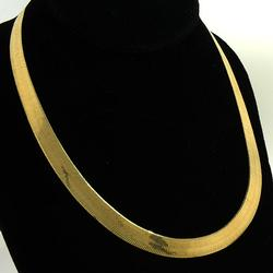 Shimmering 8mm wide 18 inch Gold Herringbone Necklace