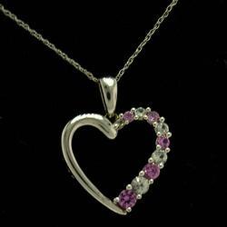 Beautiful White Gold Heart Pendant w Pink Sapphire