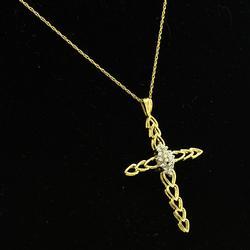 Diamond Cluster Cross Pendant, 18in Chain
