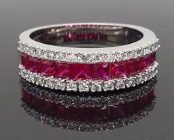 14K White Gold 1.20CTW Ruby & Diamond Ring
