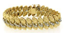 Amazing Two Tone Textured 18K Bracelet with Diamonds