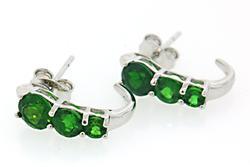 Green Gemstone Sterling Silver Earrings