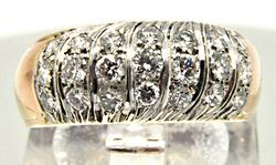 14K YELLOW AND WHITE GOLD LADIES DIAMOND BAND
