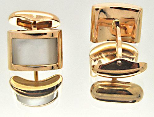 18K ROSE GOLD MEN'S CUFF LINKS WITH MOTHER OF PEARL
