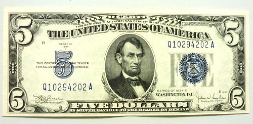 Crisp Uncirculated 1934 $5 Silver Certificate!   USAuctionBrokers.com