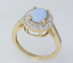 Pastel Gemstone Framed with Diamonds Ring