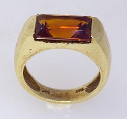 Petite Size Emerald Cut Citrine Ring
