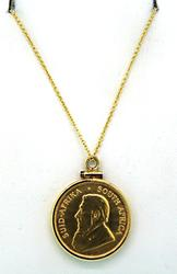 South African Krugerrand Coin Pendant Necklace