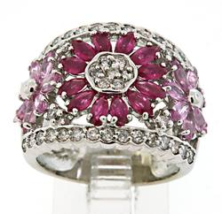 Stunning Ruby, Sapphire & Diamond Wide Band Ring