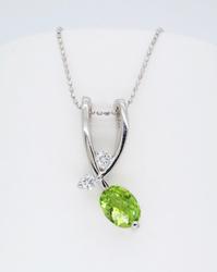 1.32CT Peridot and Diamond Necklace