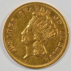 Rare 1878 US $3 Gold Piece in nice condition.