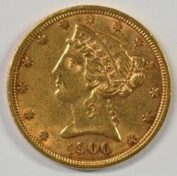 Fully struck 1900 US $5 Liberty Gold Piece. Nice