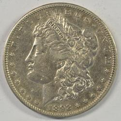 Very high grade 1892-S Morgan Silver Dollar. Key date
