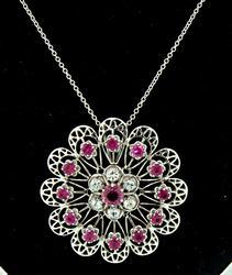 Impressive Topaz & Sapphire Flower Pendant Necklace