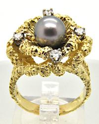 18K GOLD BLACK TAHITIAN PEARL AND DIAMOND RING