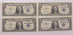 4 Star $1 Silver Certificates 1957 Series Unc or Better