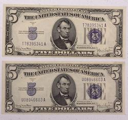 2 X1934 D CH CU  $5 Blue Seal Silver Certificates