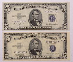 2 X1950 CH CU  $5 Blue Seal Silver Certificates