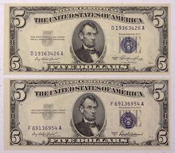1953  A CU And 1953  Near CU $5 Blue Seal Silver Certificates