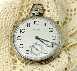 14K White Gold Howard Pocketwatch