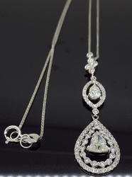 18K White Gold Buddha Cut Diamond Necklace