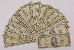 16 Assorted $5 Red Seal US Notes