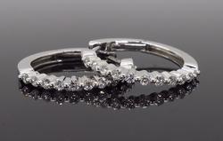 14K White Gold .50CTW Diamond Hoop Earrings