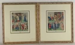 pair of Exquisite Racinet Plates Illustrating Life in the Middle Ages