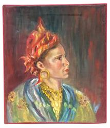 Exotic Gypsy Portrait from Paris, Oil on Canvas