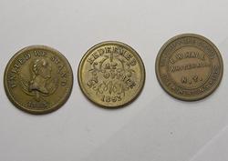 3 New York Civil War tokens 2 Dated 1863