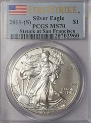 2011 S First Strike  SF STRIKE PCGS MS 70 Silver Eagle