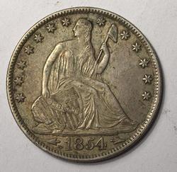 Choice  1854 O Near Uncirculated Seated Half Dollar